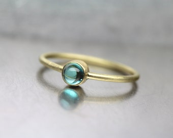 Indicolite Tourmaline 18K Yellow Gold Ring Stackable Modern Delicate Green-Blue Blue Color Brazilian Gemstone Round Cabochon - Ocean Driblet