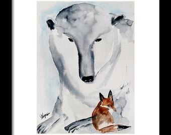 FOX Painting, Animal Art, children's room art, ORIGINAL Polar Bear watercolor painting original WATERCOLOR Fox Painting Animal Art