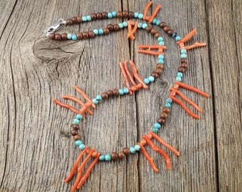 Coral branch and turquoise necklace