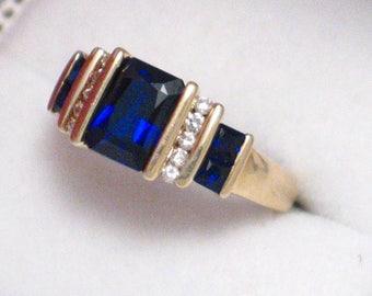 10k gold blue sapphire gemstone diamonds ring band step design anniversary engagement womens fine jewelry clothing accessories