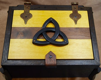 Large Ebonized Oak and Yellow heart box with hand-carved triquetra