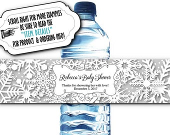 10 Waterproof Peel & Stick Water Bottle Labels, Winter Snowflakes, Wedding, Bridal Shower, Engagement, Baby Shower, Birthday
