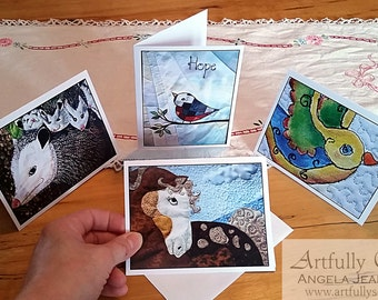4 Artfully Sew animal art quilts photo cards Blank Note Cards With Envelope