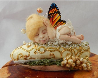 Sleeping Baby OOAK Fairy on Ballet Slipper Fairies Art Doll Figurine NEW Gold Mixed Media
