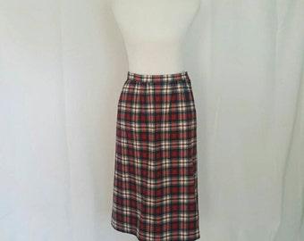 Pendleton Plaid Wool Midi Skirt M