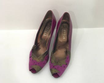 Carvela Kurt Geiger Purple Bronze Open Peep Toe  Heels 37.5