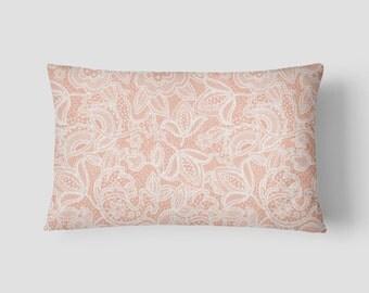 """Blush Lace // Decorative Pillow Cover 12""""x18"""" // Lumbar Pillow // Rectangular Throw Pillow"""