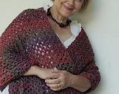 ON SALE Crocheted Shawl, Crochet Shawl, Shawls, Shawl, Gift for Her, Women's Gift, Maroon Russet Shawl, Evening Shawl, Acrylic Shawl, Hand C
