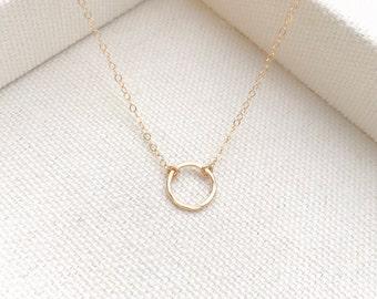 "Gold Hammered Karma 1/4"" Diameter Eternity Necklace Circle Pendant - Everyday Simple - Minimal - Wedding Gift- Bridal - The Lovely Raindrop"