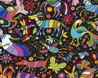 Mexican Joy Black Folk Art Animal Timeless Treasures Fabric Yard