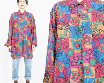 80s 90s Floral Silk Shirt Abstract Floral Print Silk Blouse Womens Silk Blouse Collar Button Up Front Shirt Colorful Flowers Artsy (M)