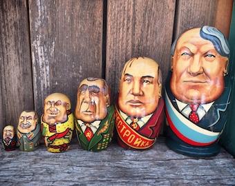 Set of six 1992 nesting dolls of Soviet Union leaders presidents Russian history buff gift