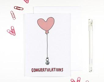 Congratulations Heart Balloon Engagement Card Marriage Wedding Card
