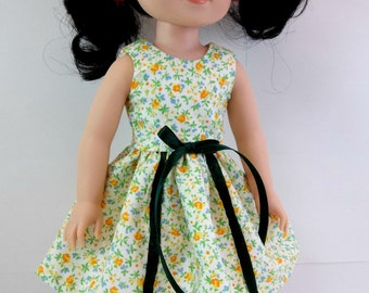 "Doll Dress for 14.5"" Doll White  Floral Sleeveless Dress with Dark Green Ribbon Fits Wellie Wishers and Similar Dolls"