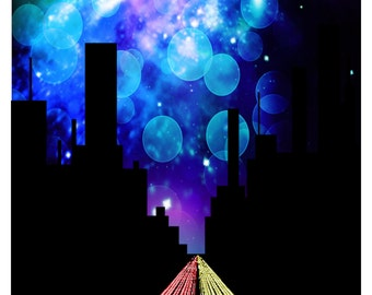 CITY FREEWAYS NIGHT-Gift Tag-Gift Card-Jewelry-T-Shirt-Digital Clipart-Website-Banner-Notebook-Scrapbook.