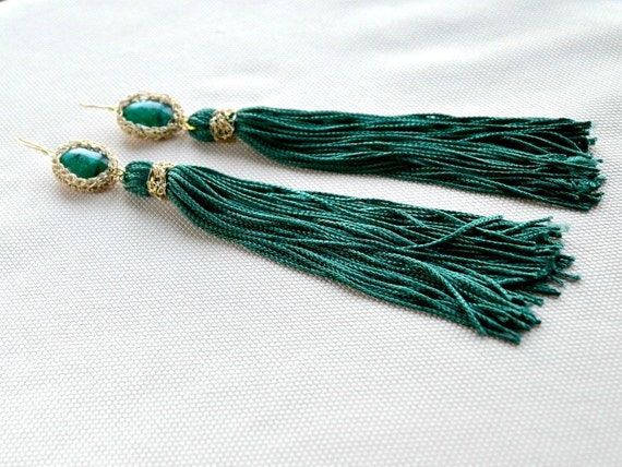 Statement green fringe earrings, extra long chrysocolla crochet earrings, green and gold tassel earrings