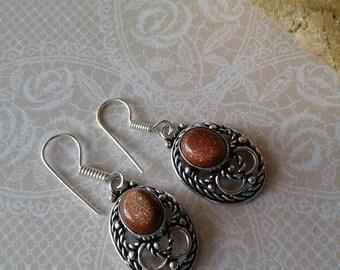 Gold Sandstone  Earrings,Silver 925,Gold Sandstone