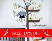 Sale - Tree Wall Decal - Shelving Tree Decal with Birds - Three Colors