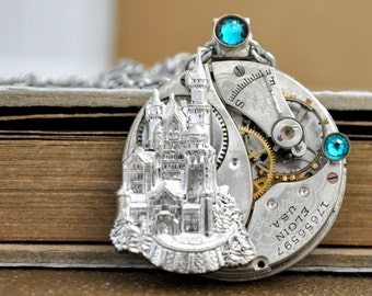 steampunk necklace - ONCE UPON a TIME - antique year 1900s Elgin watch movement necklace with castle and Swarovski blue zircon rhinestones