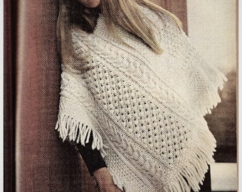 Knitting Pattern - Cable Poncho and Skirt - One Size fits all - Winter Wear