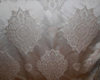CIRCULAR Damask  Floral CHAMPAIGN Ivory Jacquard Polyester SATIN Drapery Fabric, 10-23-02-0314