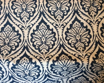NAVY Blue And  CREAM Woven Cotton DAMASK Upholstery Fabric, 10-14-41-0317