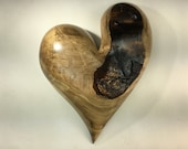 Myrtle wood heart wall hanging Love you more Anniversary present by Gary Burns handemade