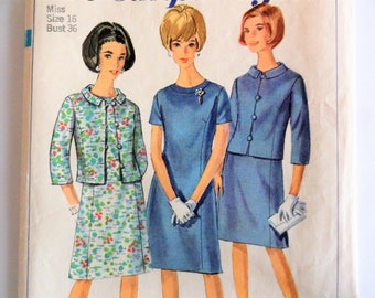 1960s Dress pattern, princess seams, roll collar jacket, vintage sewing pattern, Simplicity 6978, misses size 16 bust 36