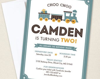 Vintage Train Party Invitations - Professionally printed *or* DIY printable