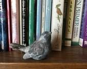 Sweet Small Sparrow . Home Decor Bird . Whitewash Finish . Shabby White Bird . Faux Bird . Nest and Cloche Decor . Accent Bird . Fake Bird