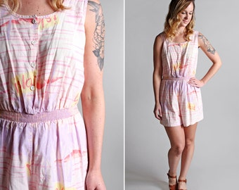 Vintage Summer Vacation Romper - Cotton Pastel White Pink Island Resort Aloha Jumpsuit Woven  Beach 1980s 80s Hot - Size Small