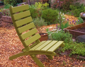 Comfy High Back Cedar Lounge Chair for Deck & Garden - Storable! - 12 colors to choose - Garden Furniture Handcrafted by Laughing Creek