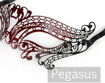 Red and Black elven court Venetian Filigree Scroll work Metal  Masquerade Mask (1 Piece, 5 color options) Aluminum Laser Cut Mask Made