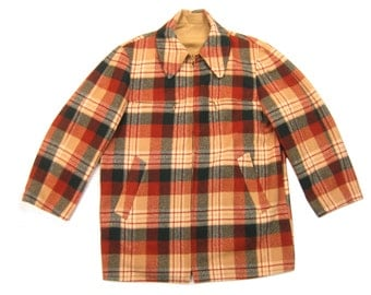 1960s Pendleton Reversible Coat Vintage Retro Wool Plaid & Khaki Cotton Blend Over Jacket Overcoat Outerwear Size Large