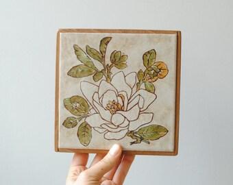 Vintage Trivet, Ceramic Tile Trivet, Gardenia Flower Trivet
