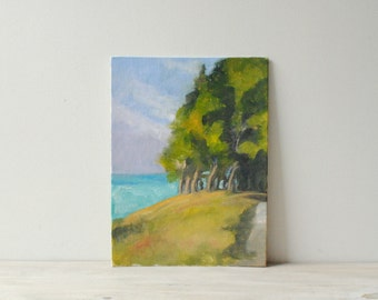 Vintage Lanscape Painting, Tree and Ocean Painting