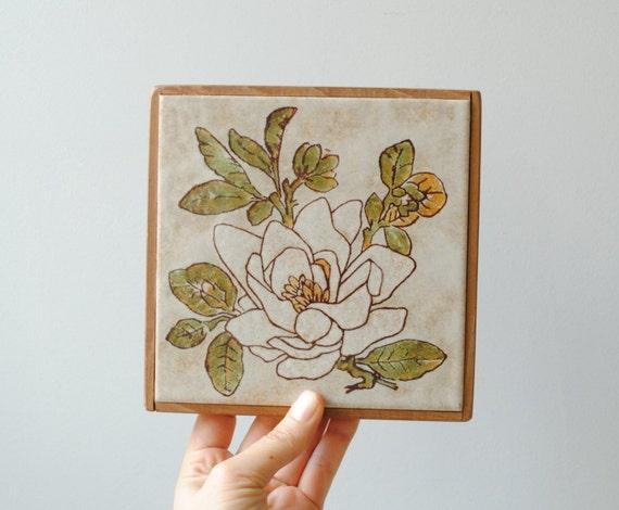 Vintage Trivet Ceramic Tile Trivet Gardenia Flower Trivet