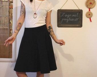 Midi skirt, half circle skirt, black skirt