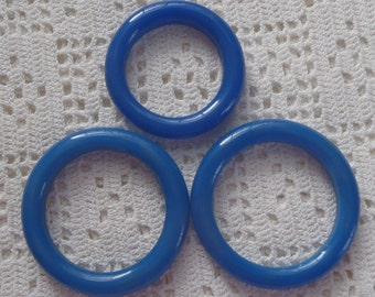 Vintage Blue Glass Shade Pull Rings 3 Pc.