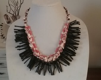 Beachy statement necklace black white Coral orange pink shells pearls Branch Coral mermaid Grotto Coastal Beach triple strand boutique boho