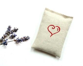 Embroidered sachet, lavender sachet gift under 15, red heart, birthday gift for her, dried lavender, scented drawer freshener