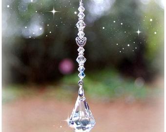 Celtic Heart Swarovski Raindrop Suncatcher, Rearview Mirror Crystal Car Charm, Window Crystal