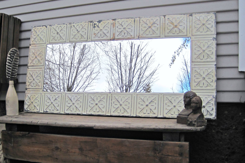 Tin Ceiling Mirror 2x4 Off White Bathroom Mirror By