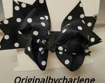 Boutique Black with White Dots Hairbow