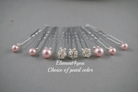 Pearl hair pins, Rhinestone ball, Swarovski pearls, Bridal hair piece, Wedding Accessories, Bridesmaid gift, White Ivory Champagne Blue pins