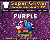 PURPLE Super Glitter  HTV Heat transfer thermal press vinyl, T- Shirt film Great for Cheer Bows crafts or sign cutter Pick your size