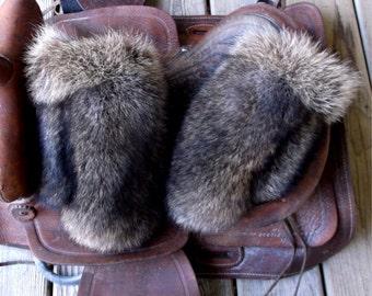 Raccoon fur mittens with purple fleece liner handmade small