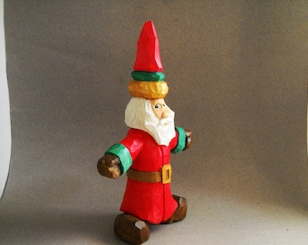 Wood hand carved Santa figure