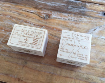 New-Japanese Wooden Rubber Stamps - Vintage Airmail Postage Stamps for Journaling, Scrapbooking, Packaging