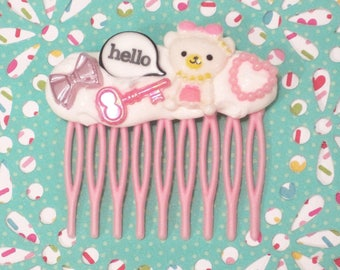 Hello Bear Hair Comb, Frosted Bear Hair Clip, Kawaii Hair Accessory, Decoden Hair Clip, Decoden Hair Clip